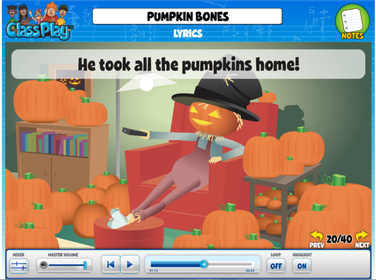 "Image of the Lyrics screen from QuaverMusic's ""Pumpkin Bones"""