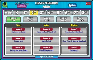 PK5 Lesson Selection Menu