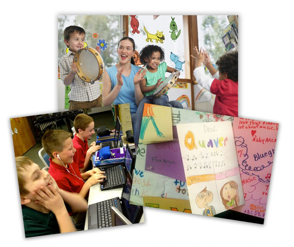 Collage of pictures including students a computer, a teacher playing music with students, and a letter from students to Quaver.