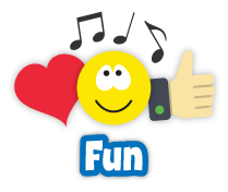 Icons for emotion, music, and happiness and the word Fun