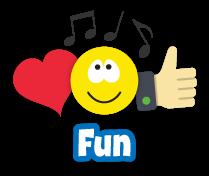 Iconos de emoción, música y felicidad y la palabra diversión