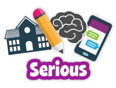 Icons for pencil, school, brain and the word Serious
