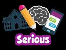 Iconos para lápiz, escuela, cerebro y la palabra seria