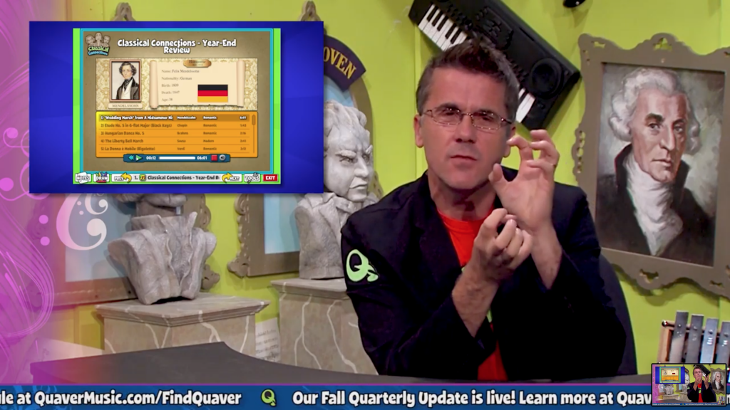 Webinar host explains concept appearing in top corner of screen in talk show style set.
