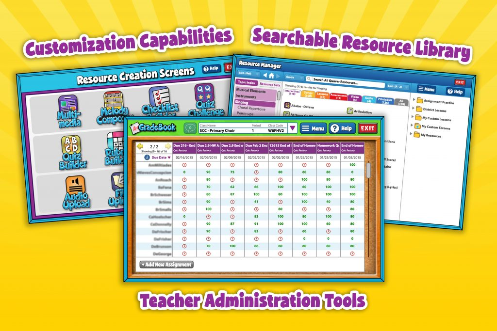 Three screens representing features of an online teaching platform.