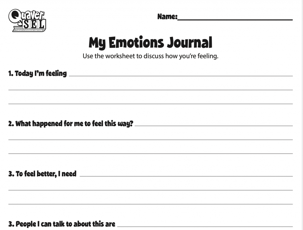 My Emotions Journal worksheet