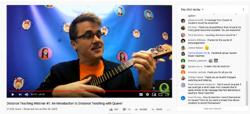Screenshot of a Quaver Distance Teaching Webinar