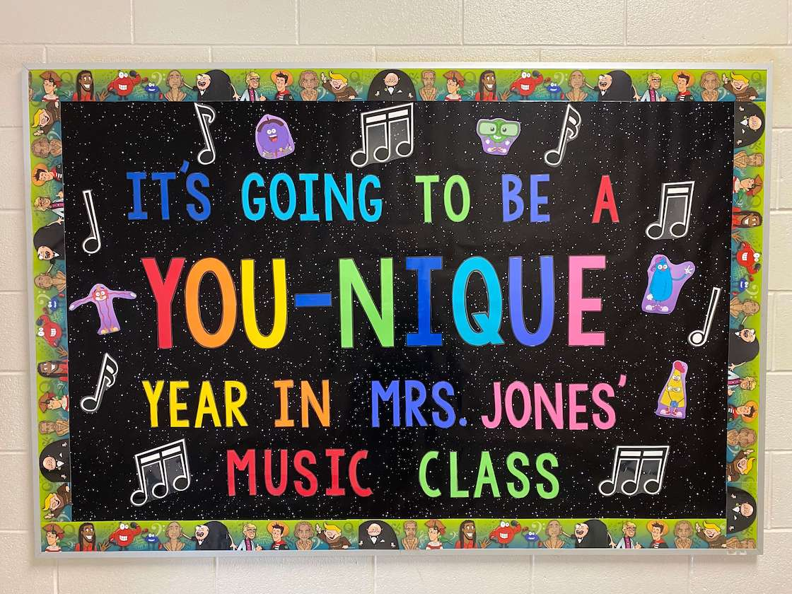 "Image of Jones' ""You-Nique"" bulletin board"
