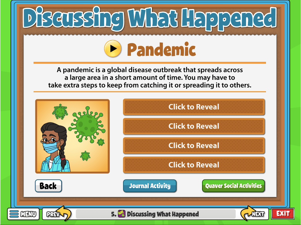 This screen addresses and defines three tough subjects: pandemics, natural disasters, and states of emergency.
