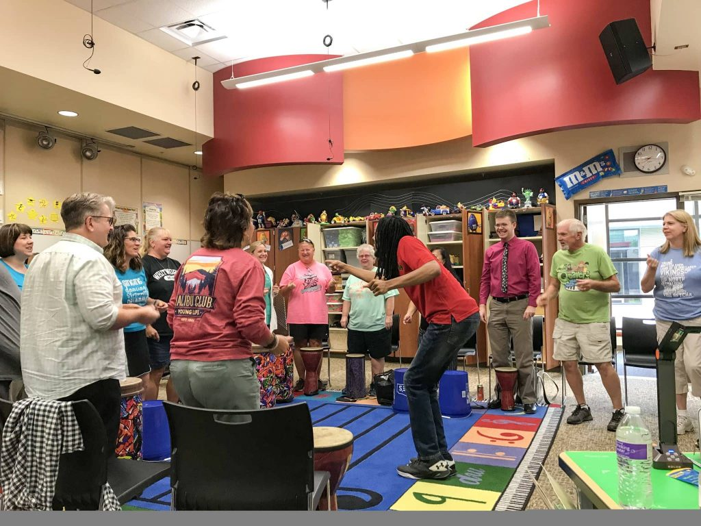 Orff clinician Otto Gross leads music teachers in a live training