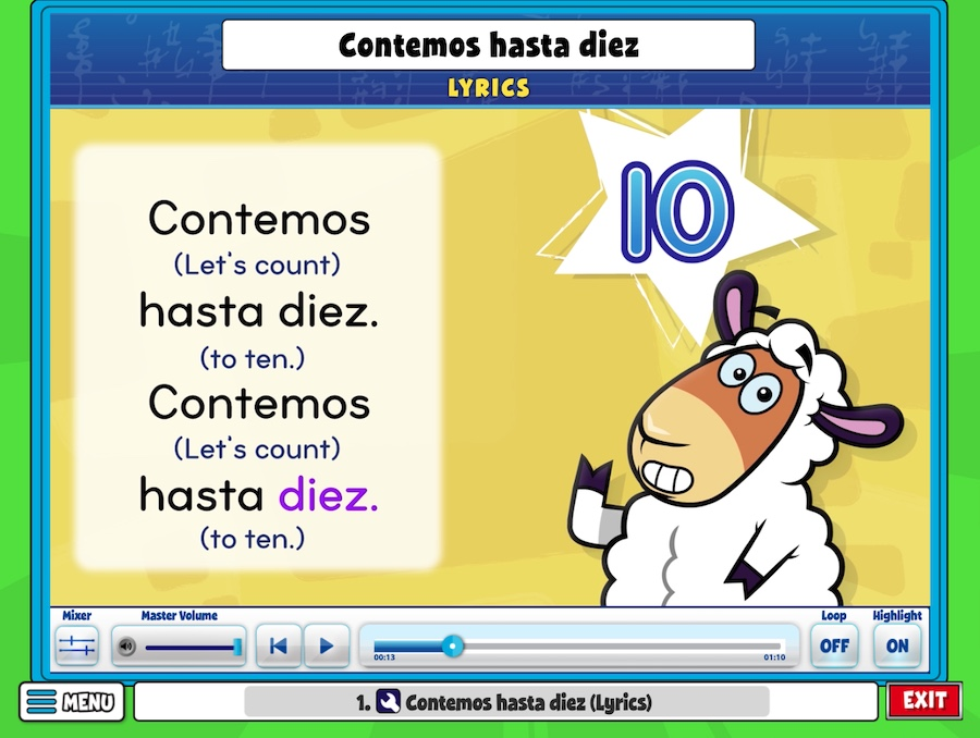 Sing Contemos Hasta Diez (Let's Count to Ten) Lyrics with Perry the Sheep!