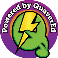 "Downloadable version of colorful email badge that reads ""powered by QuaverEd"""