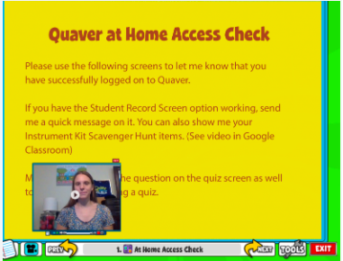Image of the Quaver Access Check video assignment instructions