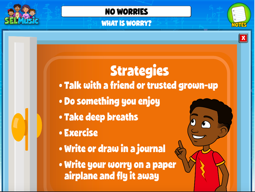 """Image shows QuaverSEL's activity """"What is Worry"""" that helps students manage worry."""