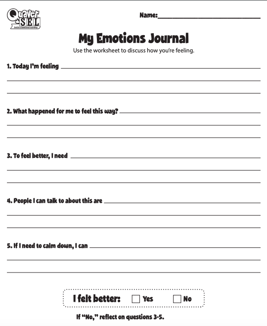 Image shows a screenshot of QuaverSEL's My Emotions Journal worksheet