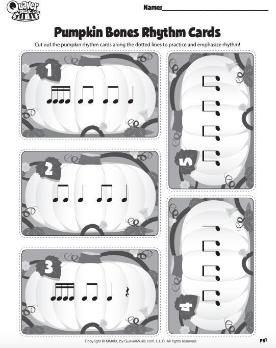 """Reinforcing Rhythm with """"Pumpkin Bones"""" Rhythm Cards!"""