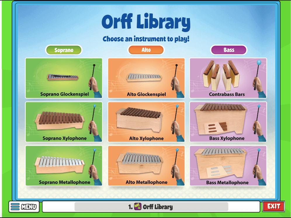 If you would like students to play along but are unable to use instruments this year, consider using the Orff Library.