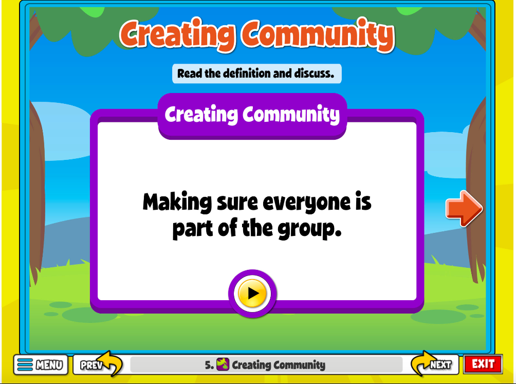 "The ""Creating Community"" Activity helps students define community and what makes a kind community."