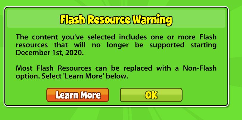 Flash Resource Warning
