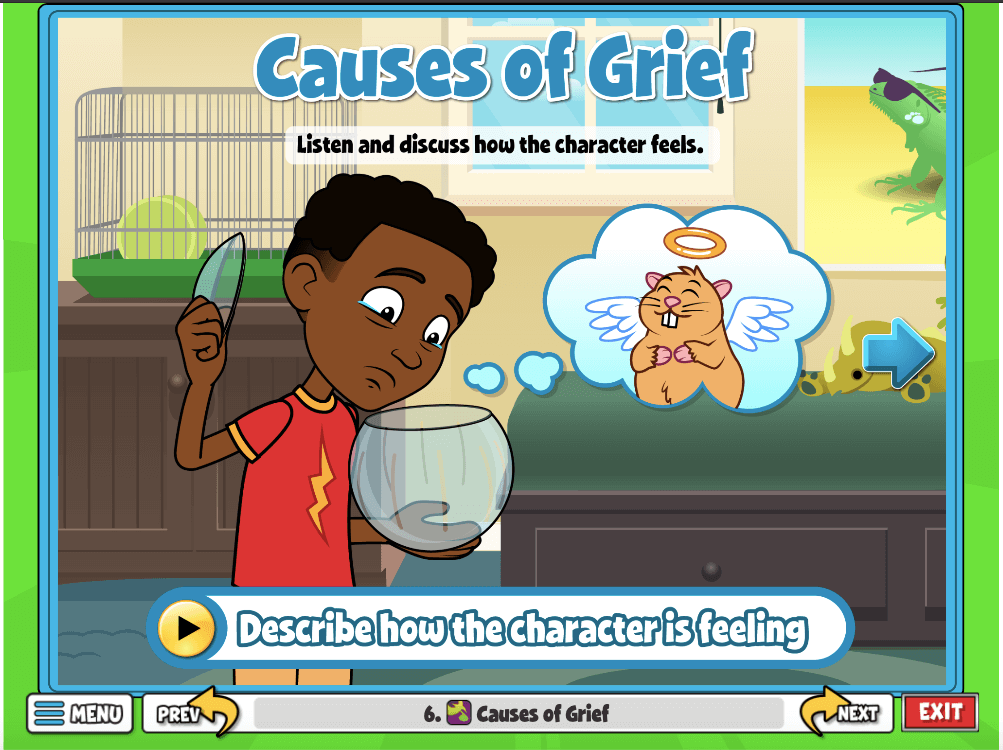 Causes of Grief, students can listen and discuss how the character feels