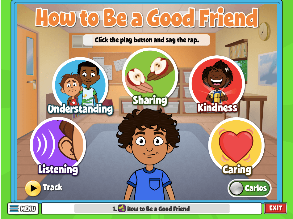 In the activity How To Be A Good Friend, students click the icon to learn characteristics of a good friend like Listening and Understanding!