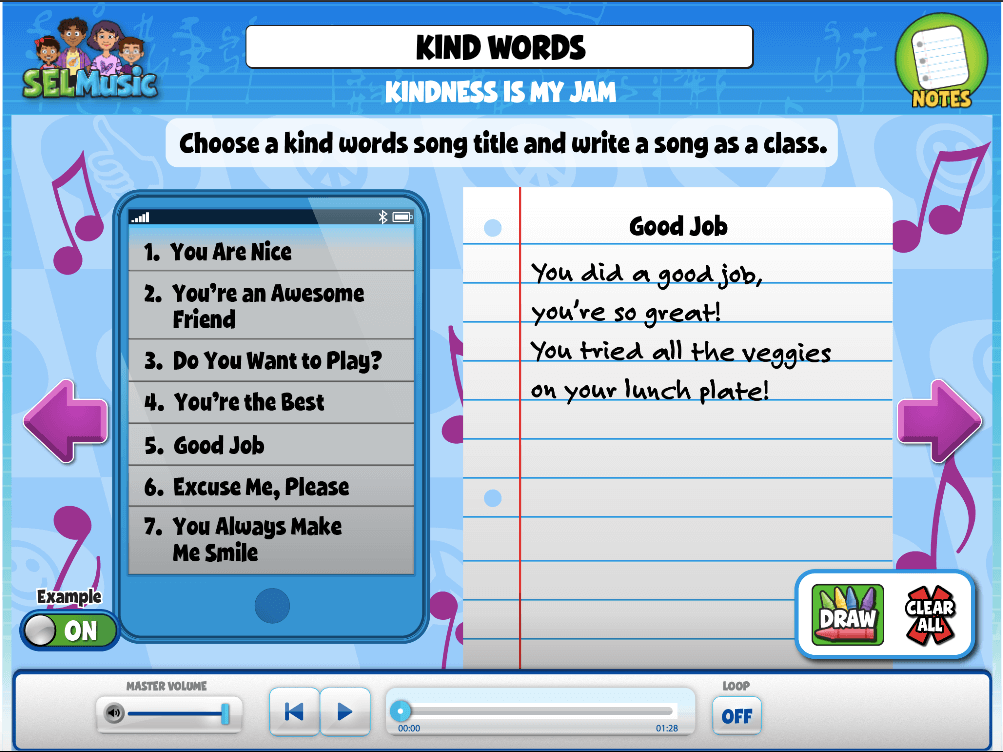 Activity that encourages students kindness and composing a song as a class that incorporates kind words.