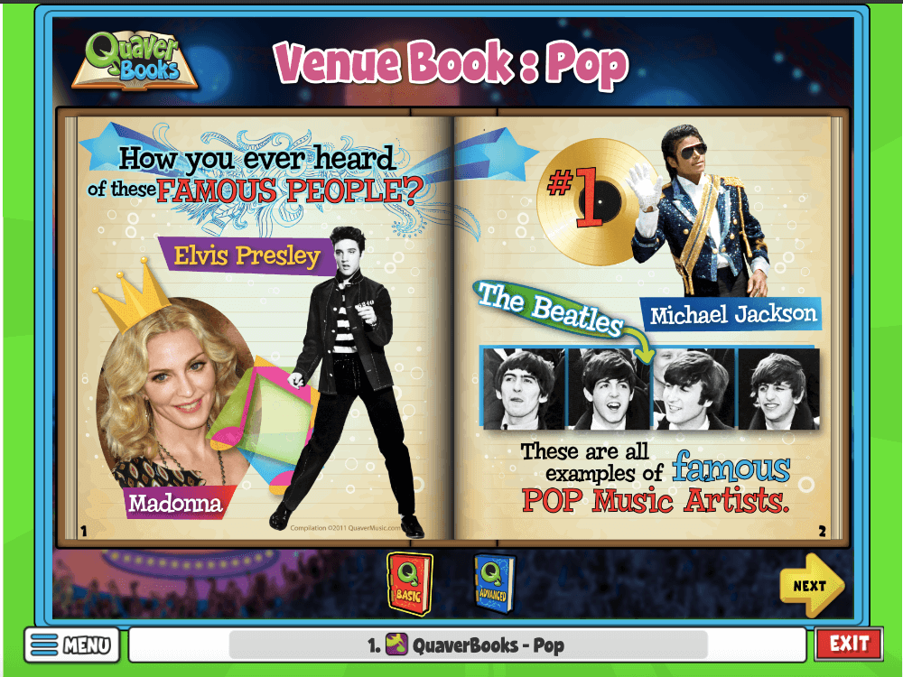 Venue Book Pop is an activity where students can explore their favorite pop artist and what pop music sounds like!