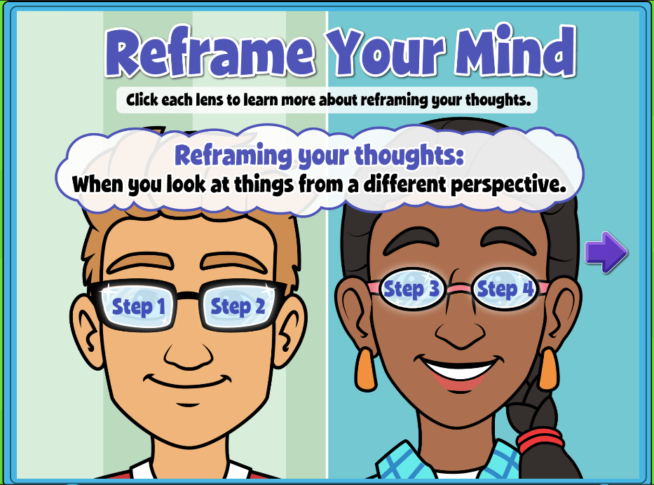 """Quaver SEL Plus Lessons include """"Reframe Your Mind"""" an exercise in coping with difficult emotions and situations!"""