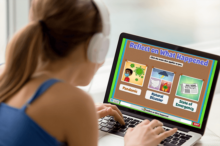 Young girl explores an activity on her computer called Reflect on What Happened from Quaver SEL