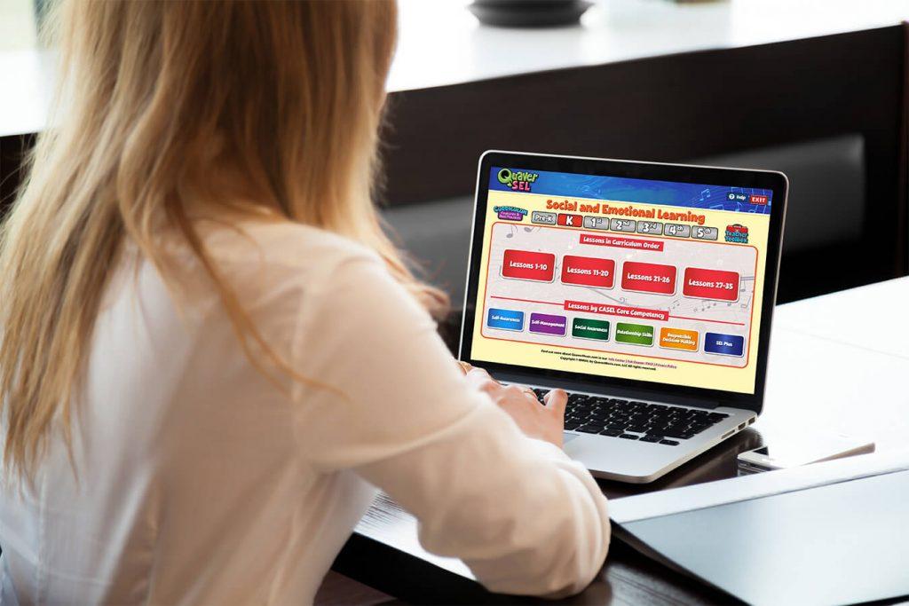 QuaverSEL Lesson Selection Menu on a Laptop
