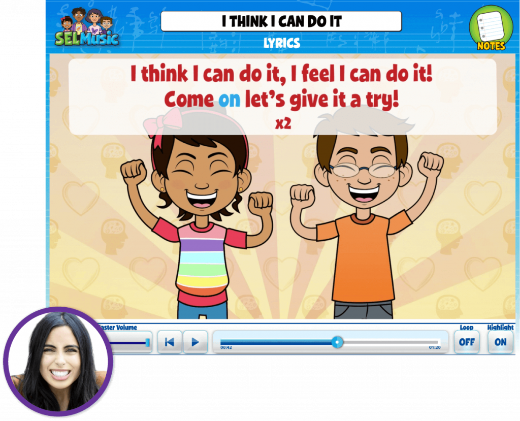 Teacher Cindy Fuentes inset over Quaver SEL song called I Think I Can Do It