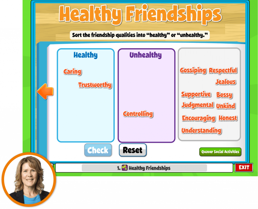 School Counselor Heather Eskridge inset over a screen from QuaverSEL that she uses with her students to develop Healthy Friendships