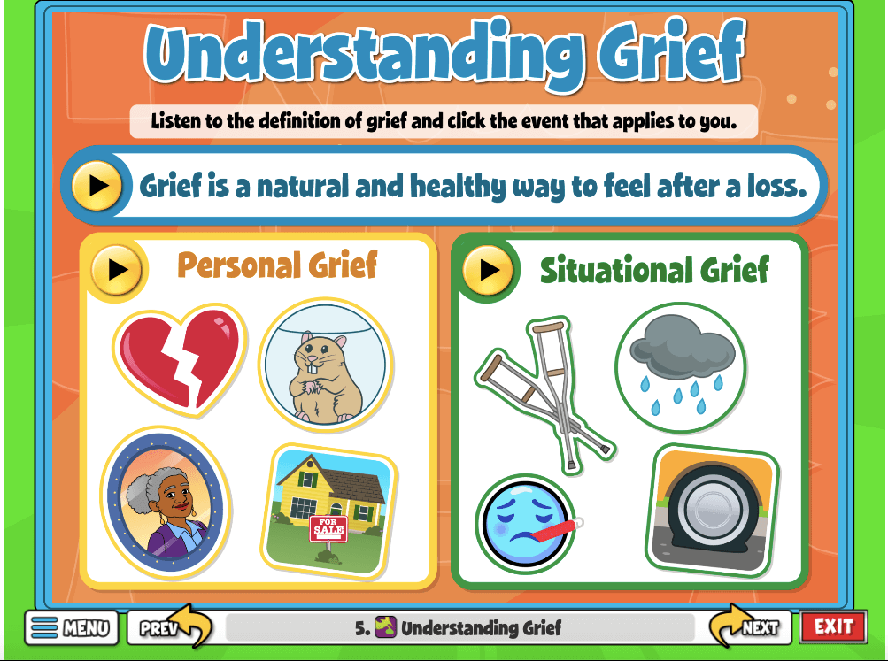 Understanding Grief, this activity defines grief and two different kinds of grief: personal and situational.