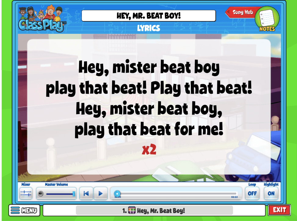 Song from Quaver Music general music curriculum called Hey, Mr Beat Boy!
