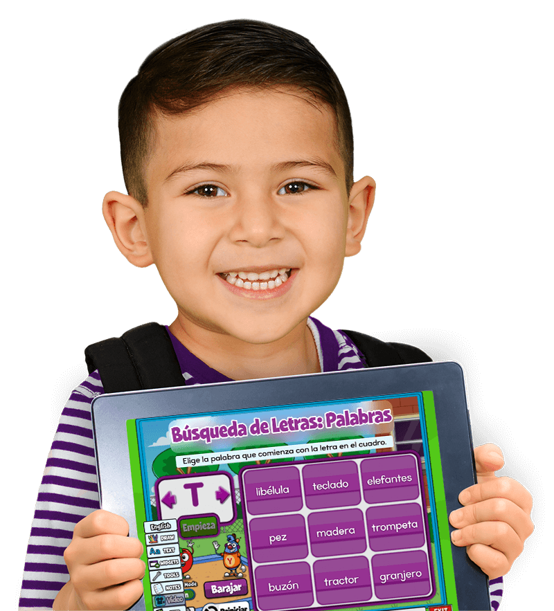 Hispanic boy holding iPad with Pre-K activity on the screen