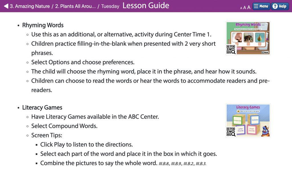 Digital lesson guide from Quaver Pre-K